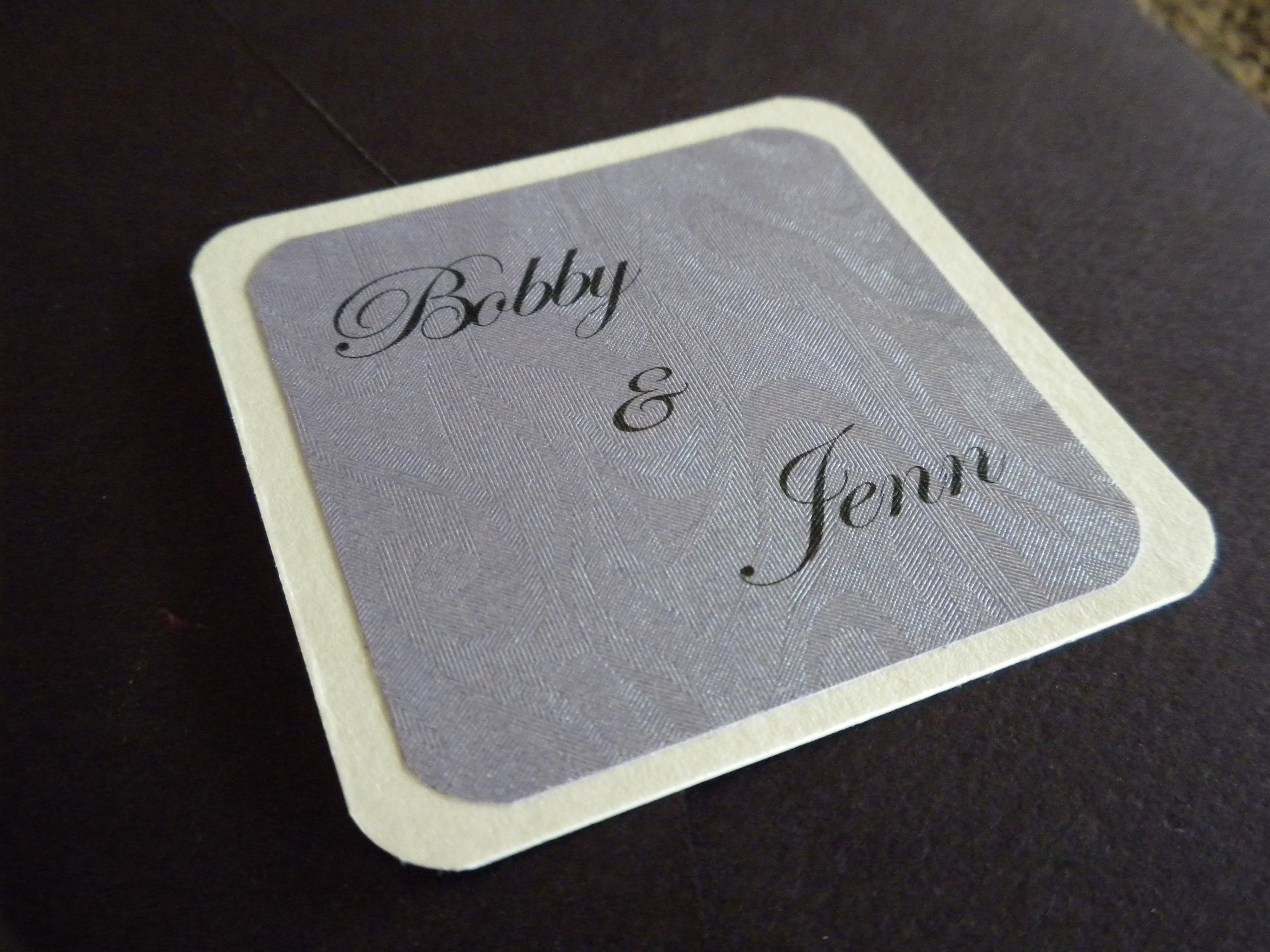 Our wedding colors are eggplant and ivory This wedding invitation is an